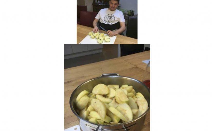 Am Morgen beim Kochen geholfen