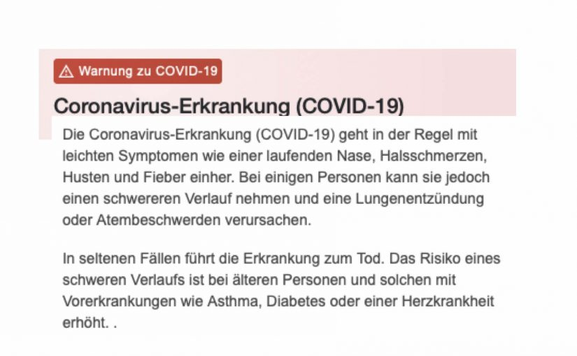 Das Coronavirus ist beängstigen