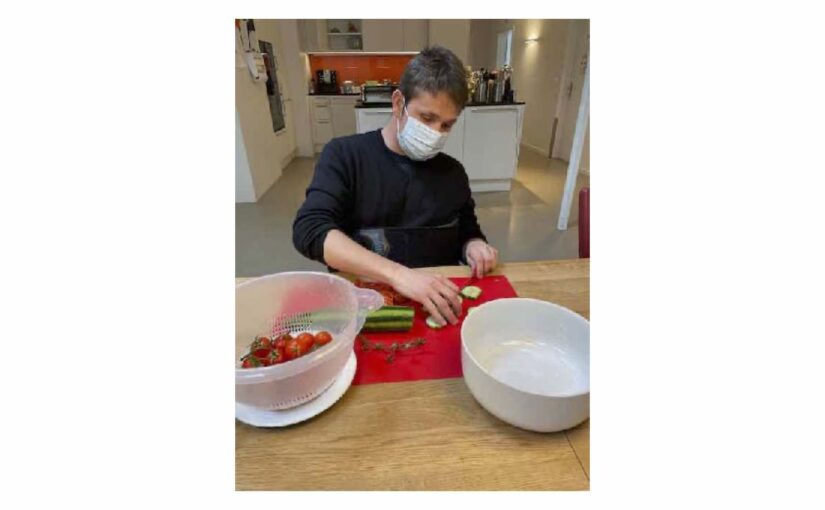 Am Morgen kochen geholfen und am Nachmittag Ergo und Physio